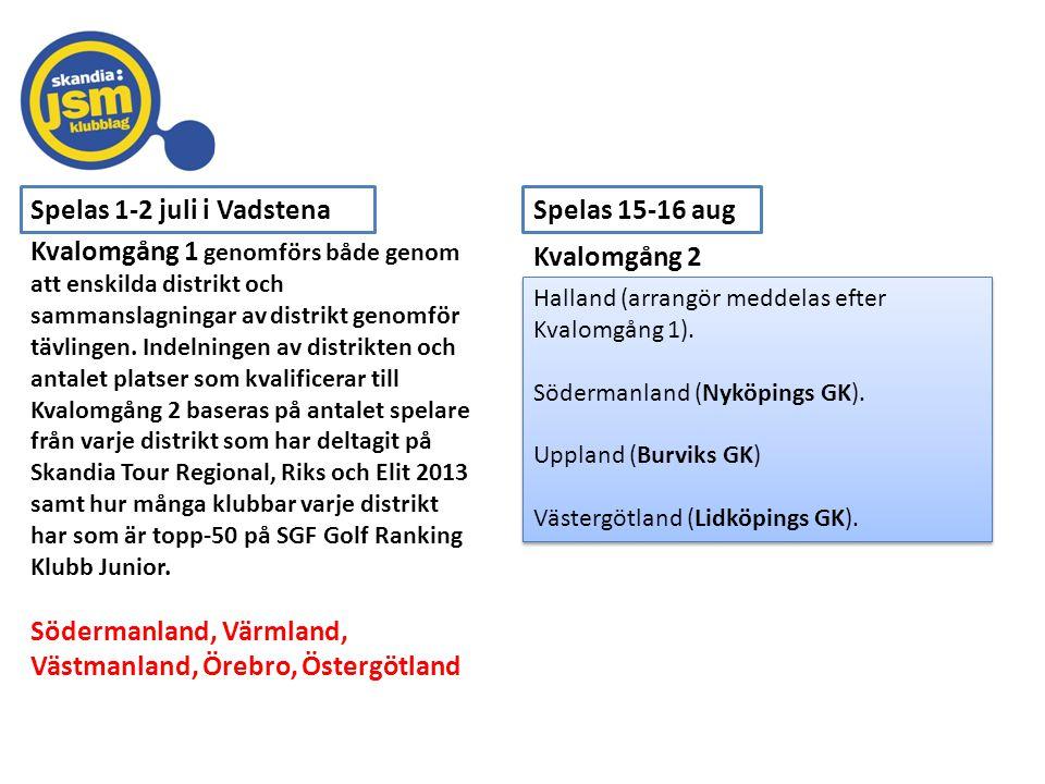 Spelas 1-2 juli i Vadstena Kvalomgång 2 Kvalomgång 1 genomförs både genom att enskilda distrikt och sammanslagningar av distrikt genomför tävlingen. I