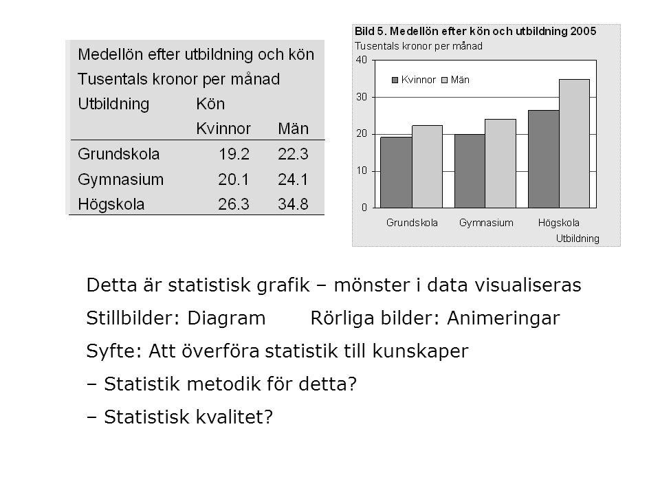 Detta är statistisk grafik – mönster i data visualiseras Stillbilder: Diagram Rörliga bilder: Animeringar Syfte: Att överföra statistik till kunskaper – Statistik metodik för detta.