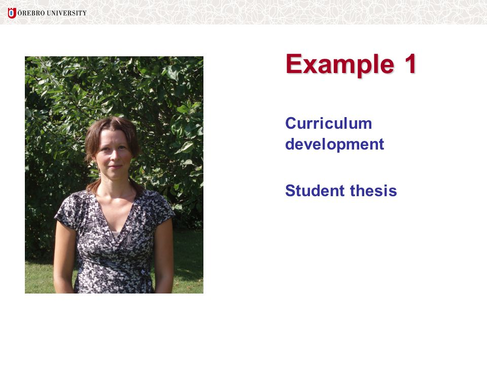 Example 1 Curriculum development Student thesis