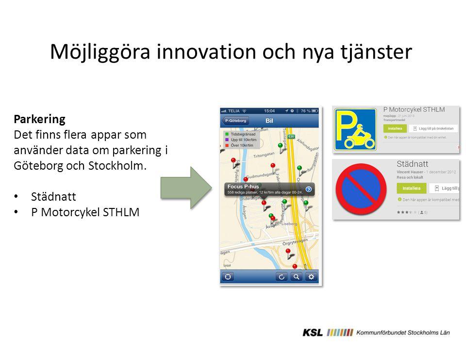 Möjliggöra innovation och nya tjänster Parkering Det finns flera appar som använder data om parkering i Göteborg och Stockholm.