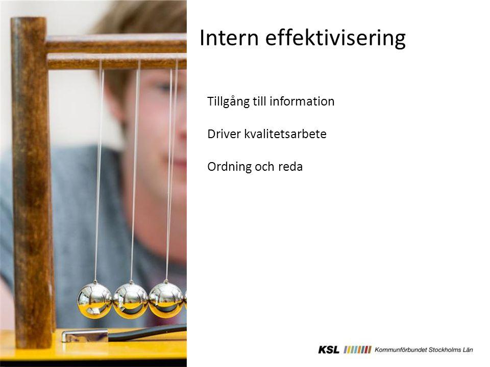 Intern effektivisering Tillgång till information Driver kvalitetsarbete Ordning och reda