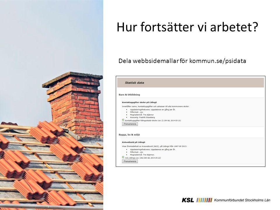 Hur fortsätter vi arbetet Dela webbsidemallar för kommun.se/psidata