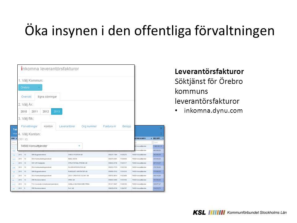 Öka insynen i den offentliga förvaltningen Leverantörsfakturor Söktjänst för Örebro kommuns leverantörsfakturor inkomna.dynu.com