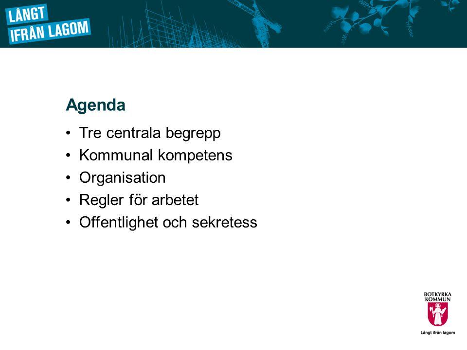 Agenda Tre centrala begrepp Kommunal kompetens Organisation Regler för arbetet Offentlighet och sekretess