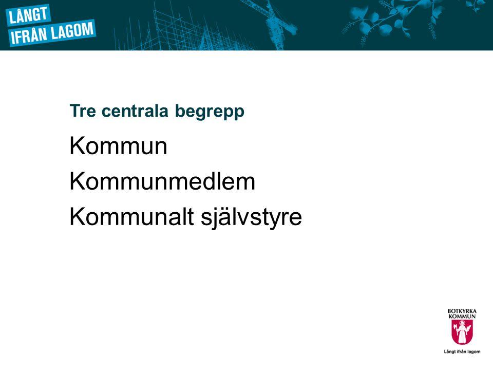 Tre centrala begrepp Kommun Kommunmedlem Kommunalt självstyre