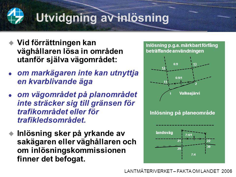 LANTMÄTERIVERKET – FAKTA OM LANDET 2006 Anläggning av väg  skador under arbetets utförande, t.ex.
