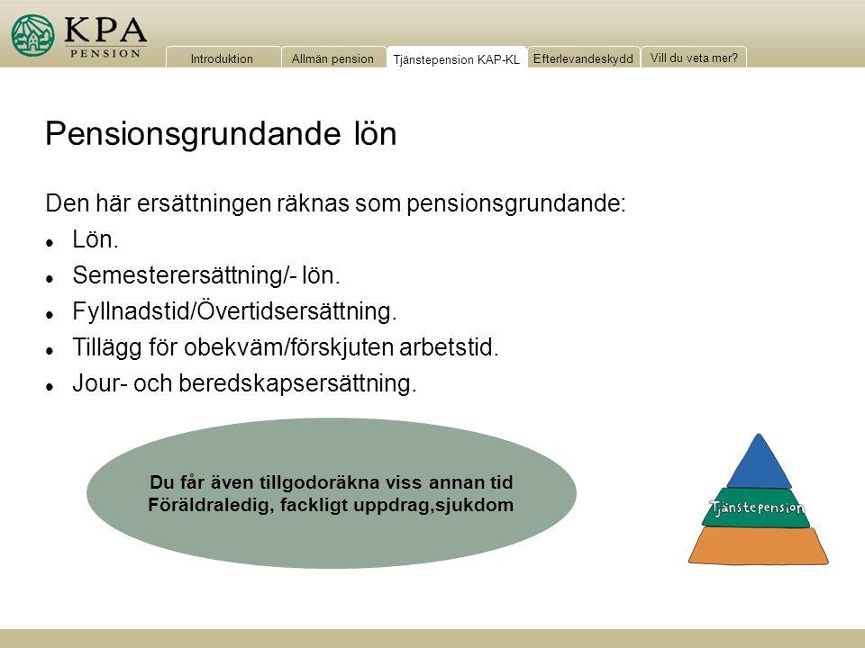 IntroduktionAllmän pensionTjänstepension KAP-KLEfterlevandeskydd Vill du veta mer? Pensionsgrundande lön Den här ersättningen räknas som pensionsgrund