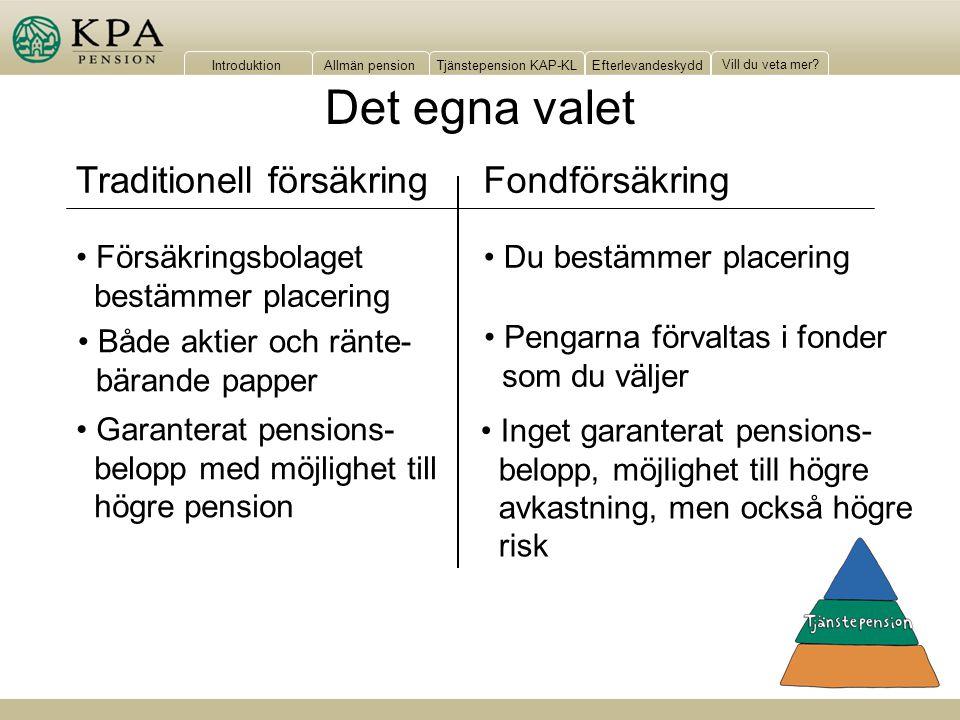IntroduktionAllmän pensionTjänstepension KAP-KLEfterlevandeskydd Vill du veta mer? Det egna valet Inget garanterat pensions- belopp, möjlighet till hö