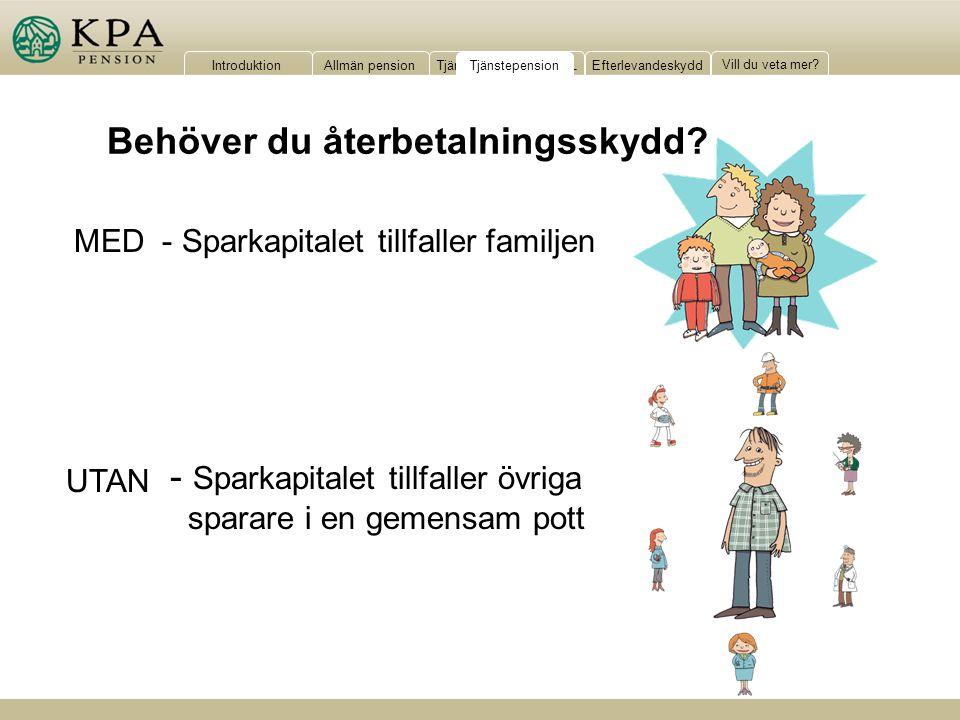 IntroduktionAllmän pensionTjänstepension KAP-KLEfterlevandeskydd Vill du veta mer? - Sparkapitalet tillfaller familjen - Sparkapitalet tillfaller övri