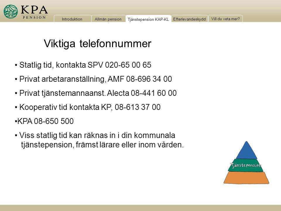 IntroduktionAllmän pensionTjänstepension KAP-KLEfterlevandeskydd Vill du veta mer? Viktiga telefonnummer Statlig tid, kontakta SPV 020-65 00 65 Privat