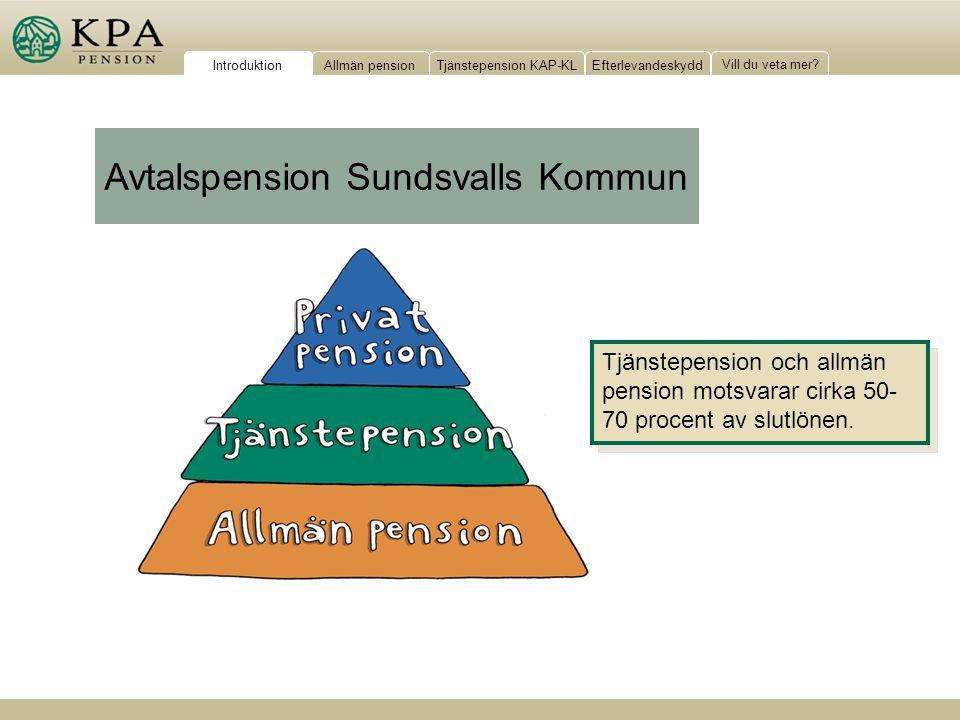 Allmän pensionTjänstepension KAP-KLEfterlevandeskydd Vill du veta mer? Tjänstepension och allmän pension motsvarar cirka 50- 70 procent av slutlönen.