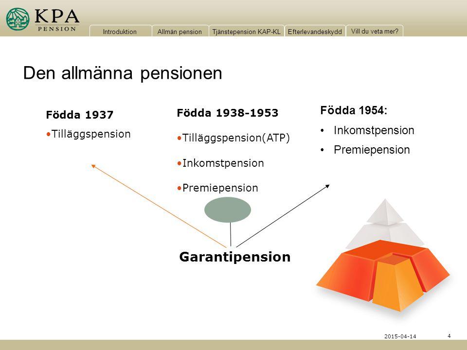 IntroduktionAllmän pensionTjänstepension KAP-KLEfterlevandeskydd Vill du veta mer? 4 2015-04-14 Födda 1954: Inkomstpension Premiepension Födda 1937 Ti