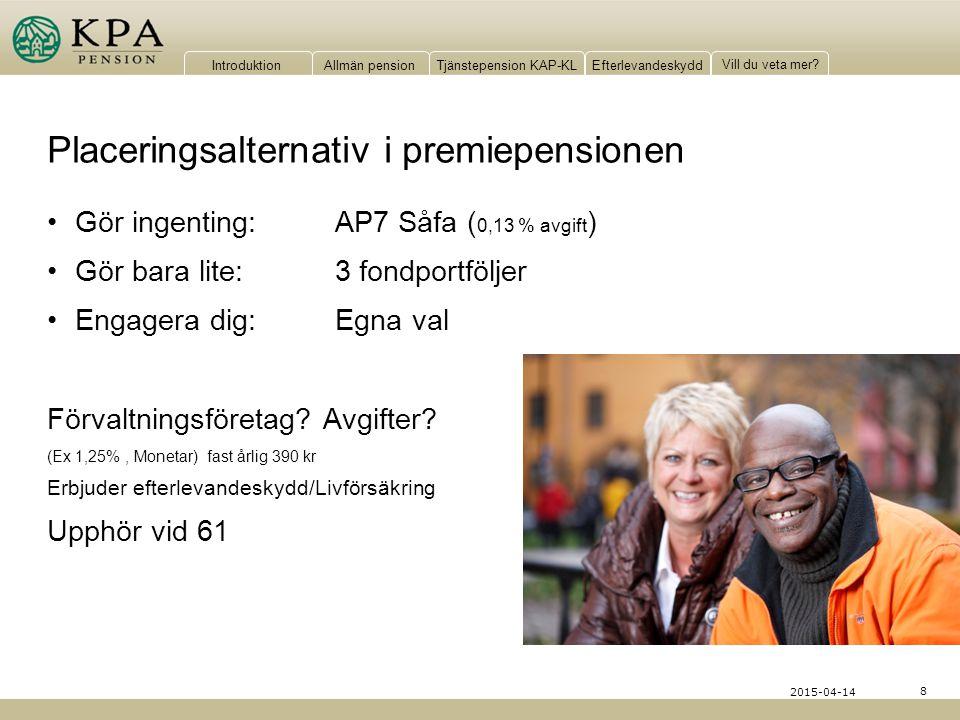 IntroduktionAllmän pensionTjänstepension KAP-KLEfterlevandeskydd Vill du veta mer? 8 2015-04-14 Placeringsalternativ i premiepensionen Gör ingenting:A
