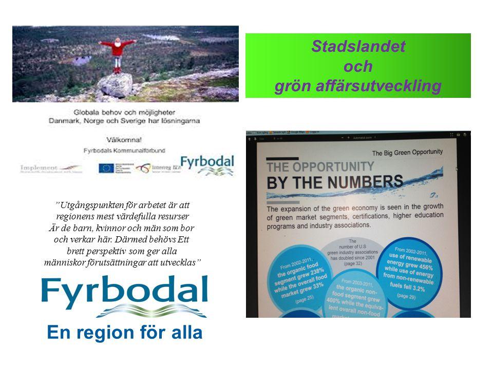 """Stadslandet och grön affärsutveckling En region för alla """"Utgångspunkten för arbetet är att regionens mest värdefulla resurser Är de barn, kvinnor och"""