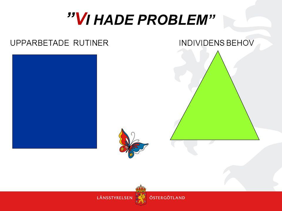 """""""V I HADE PROBLEM"""" UPPARBETADE RUTINER INDIVIDENS BEHOV"""