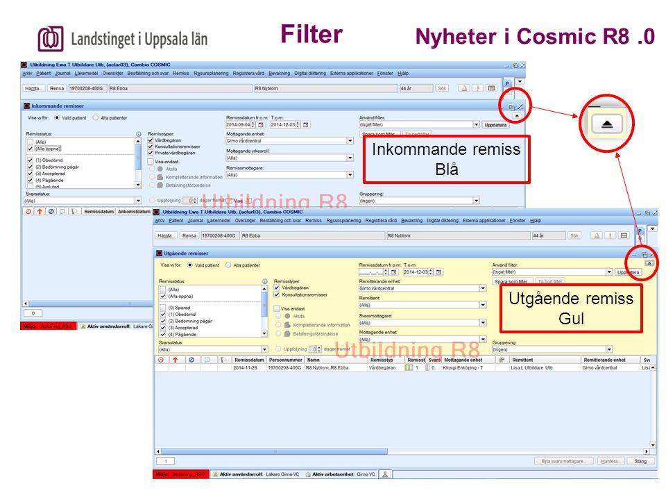 Inkommande remiss Blå Utgående remiss Gul Filter Nyheter i Cosmic R8.0