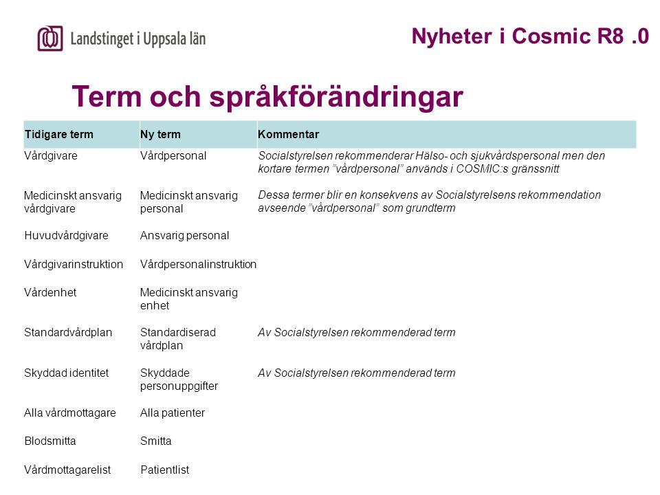 Term och språkförändringar Tidigare termNy termKommentar VårdgivareVårdpersonalSocialstyrelsen rekommenderar Hälso- och sjukvårdspersonal men den kort