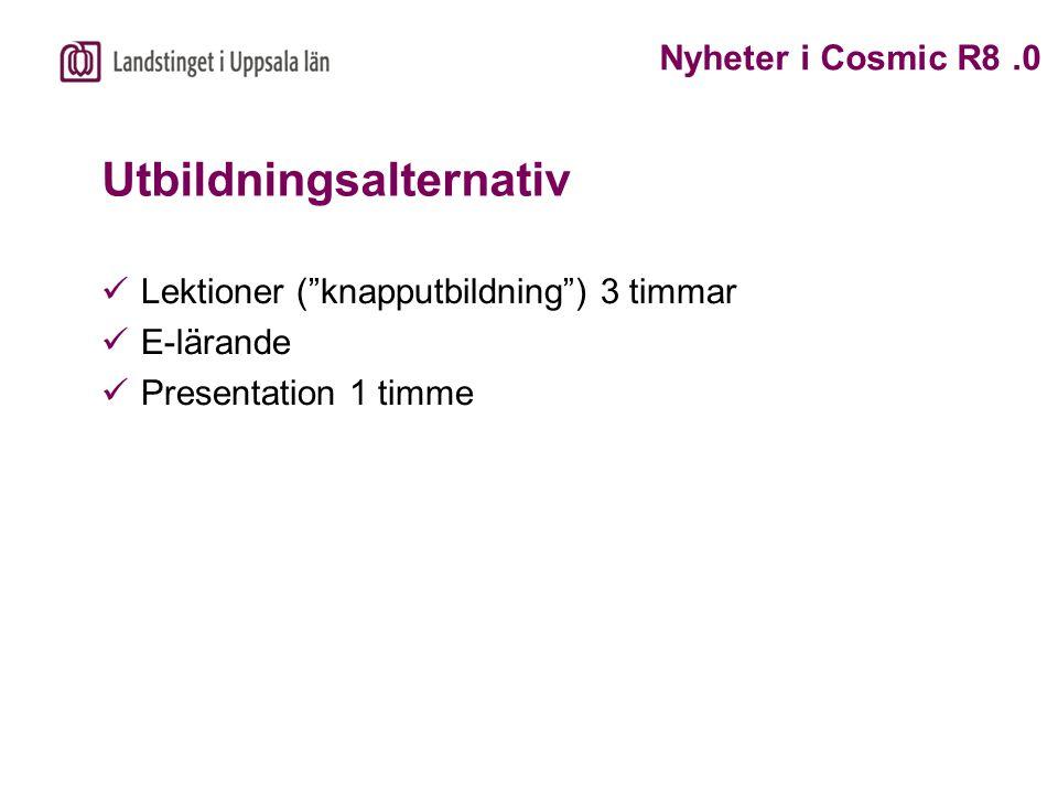 """Utbildningsalternativ Lektioner (""""knapputbildning"""") 3 timmar E-lärande Presentation 1 timme Nyheter i Cosmic R8.0"""