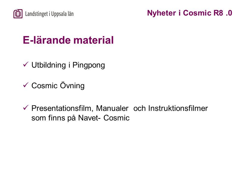 E-lärande material Utbildning i Pingpong Cosmic Övning Presentationsfilm, Manualer och Instruktionsfilmer som finns på Navet- Cosmic Nyheter i Cosmic