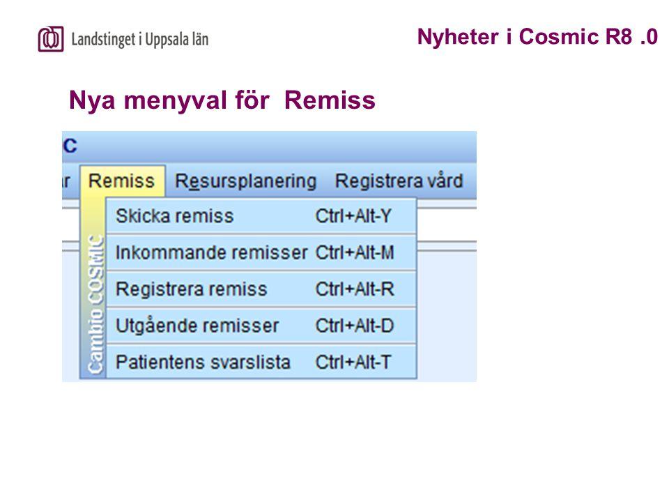 Remisstyper Nyheter i Cosmic R8.0