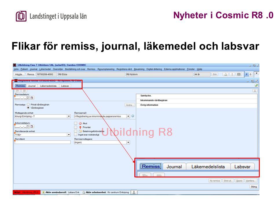Flikar för remiss, journal, läkemedel och labsvar Nyheter i Cosmic R8.0