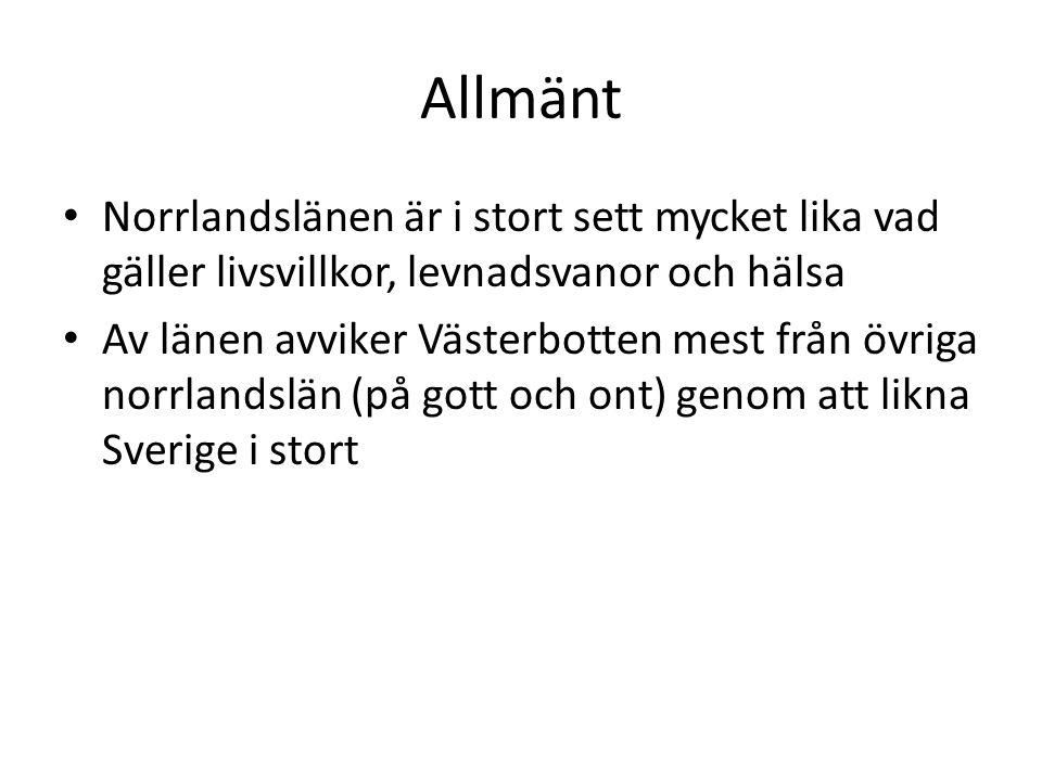 Allmänt Norrlandslänen är i stort sett mycket lika vad gäller livsvillkor, levnadsvanor och hälsa Av länen avviker Västerbotten mest från övriga norrl