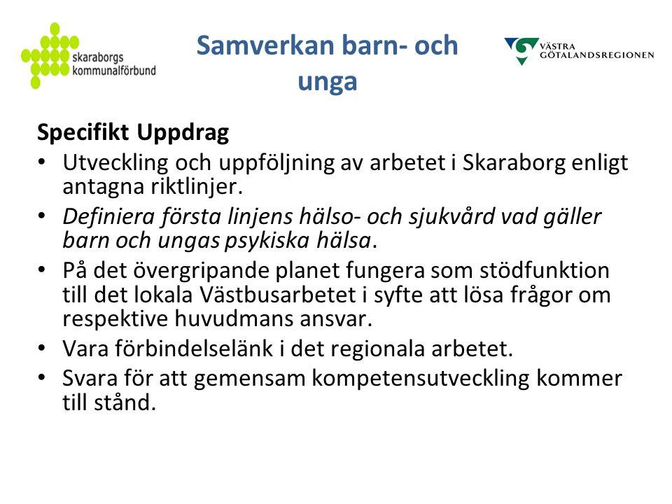 Samverkan barn- och unga Specifikt Uppdrag Utveckling och uppföljning av arbetet i Skaraborg enligt antagna riktlinjer. Definiera första linjens hälso