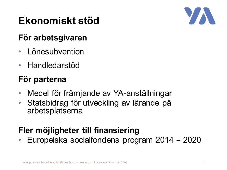 Ekonomiskt stöd För arbetsgivaren Lönesubvention Handledarstöd För parterna Medel för främjande av YA-anställningar Statsbidrag för utveckling av lärande på arbetsplatserna Fler möjligheter till finansiering Europeiska socialfondens program 2014 ‒ 2020 Delegationen för arbetsplatslärande vid yrkesintroduktionsanställningar (YA)5