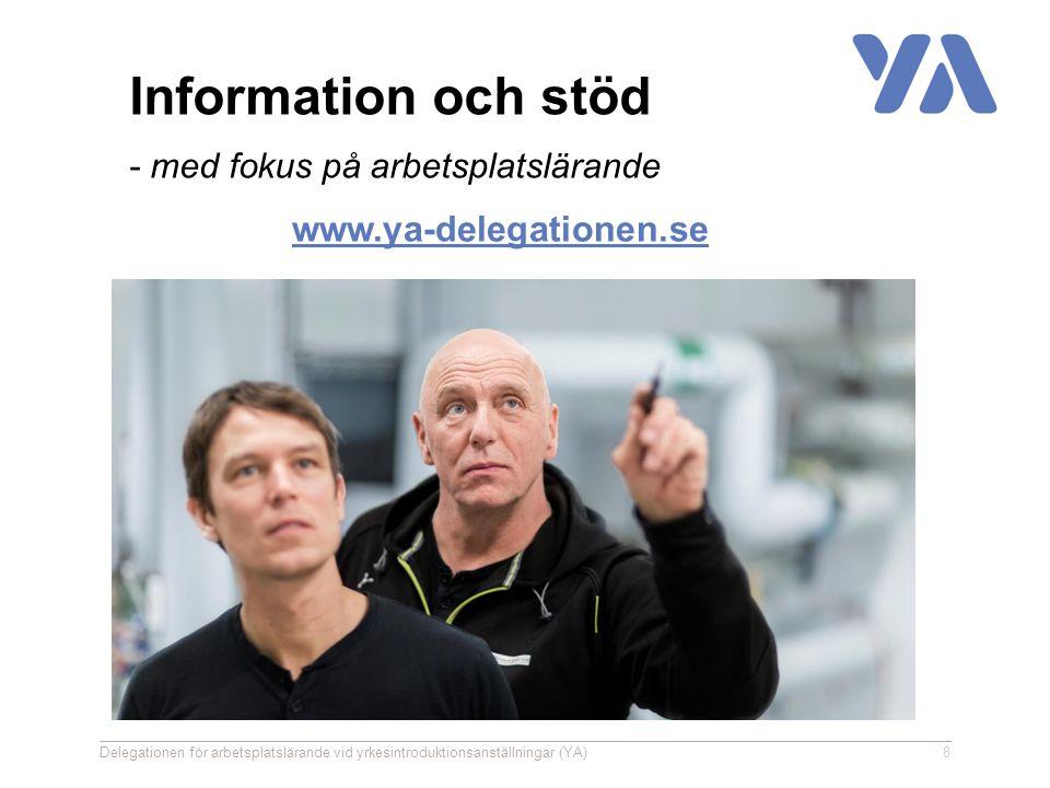 www.ya-delegationen.se Delegationen för arbetsplatslärande vid yrkesintroduktionsanställningar (YA)8 Information och stöd - med fokus på arbetsplatslärande