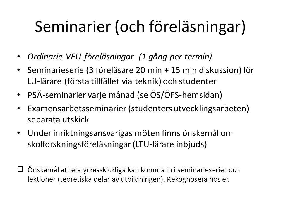 Seminarier (och föreläsningar) Ordinarie VFU-föreläsningar (1 gång per termin) Seminarieserie (3 föreläsare 20 min + 15 min diskussion) för LU-lärare (första tillfället via teknik) och studenter PSÄ-seminarier varje månad (se ÖS/ÖFS-hemsidan) Examensarbetsseminarier (studenters utvecklingsarbeten) separata utskick Under inriktningsansvarigas möten finns önskemål om skolforskningsföreläsningar (LTU-lärare inbjuds)  Önskemål att era yrkesskickliga kan komma in i seminarieserier och lektioner (teoretiska delar av utbildningen).