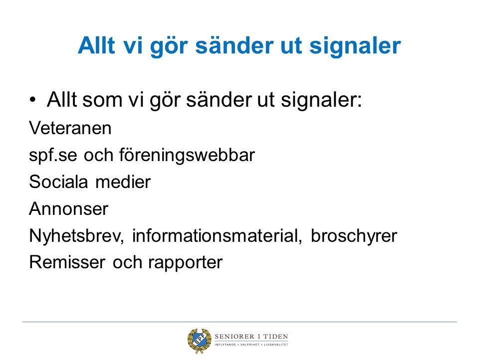 Allt vi gör sänder ut signaler Allt som vi gör sänder ut signaler: Veteranen spf.se och föreningswebbar Sociala medier Annonser Nyhetsbrev, informatio