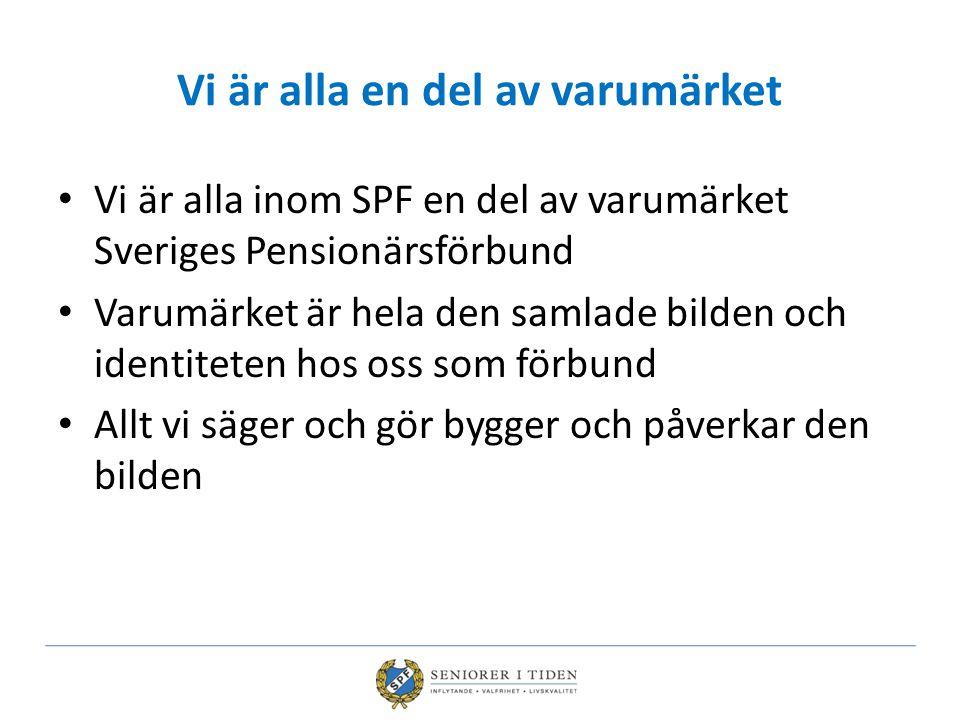 Vi är alla en del av varumärket Vi är alla inom SPF en del av varumärket Sveriges Pensionärsförbund Varumärket är hela den samlade bilden och identite