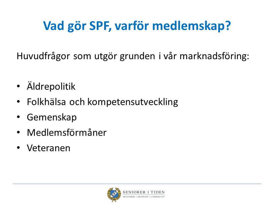 Vad gör SPF, varför medlemskap? Huvudfrågor som utgör grunden i vår marknadsföring: Äldrepolitik Folkhälsa och kompetensutveckling Gemenskap Medlemsfö