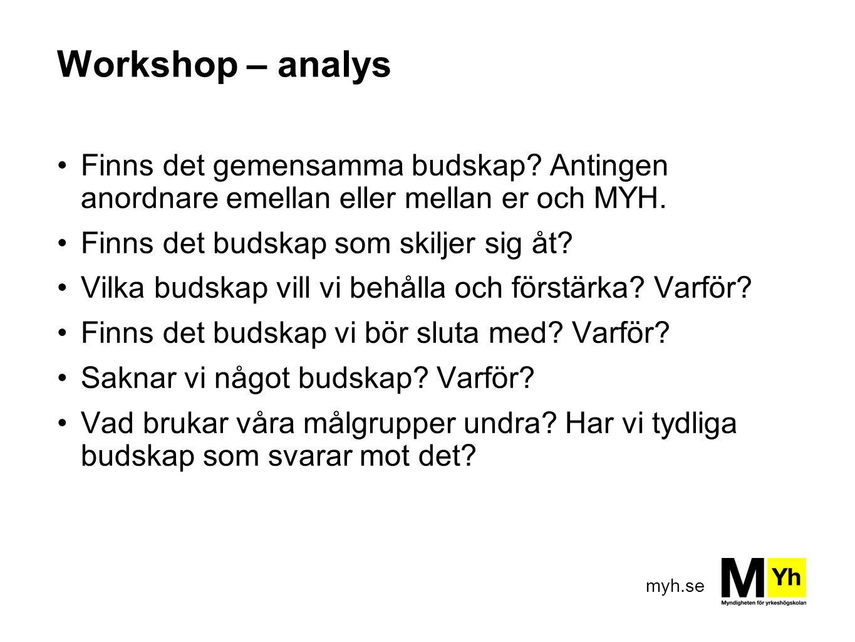 myh.se Workshop – analys Finns det gemensamma budskap? Antingen anordnare emellan eller mellan er och MYH. Finns det budskap som skiljer sig åt? Vilka