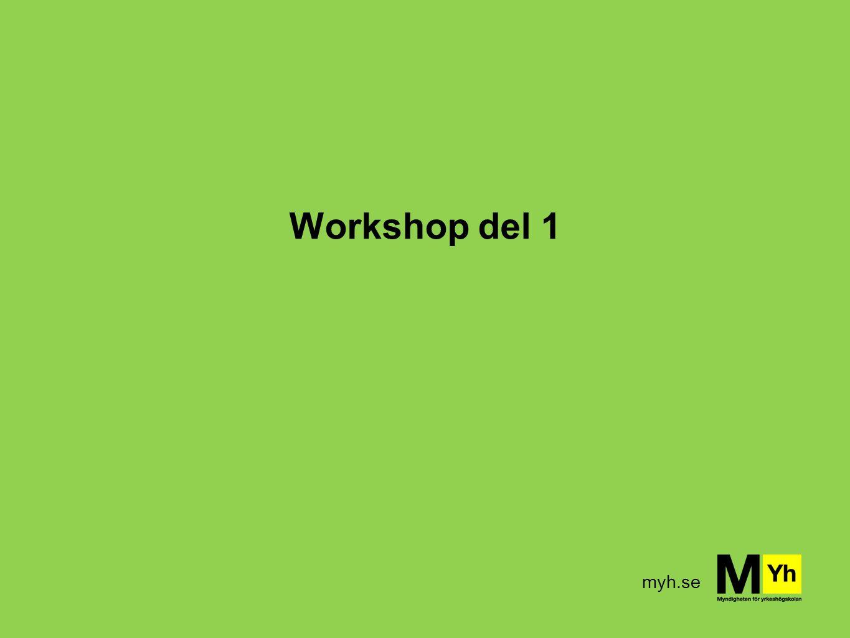 myh.se Workshop – frågeställningar Fråga 1: Vilka budskap sänder ni själva ut om yrkeshögskolan.