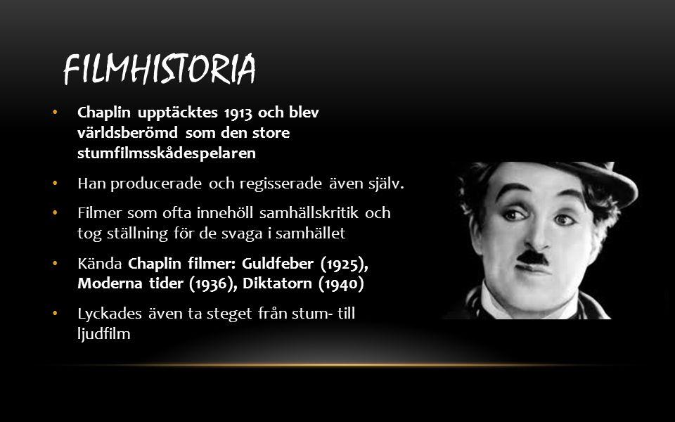 Chaplin upptäcktes 1913 och blev världsberömd som den store stumfilmsskådespelaren Han producerade och regisserade även själv. Filmer som ofta innehöl
