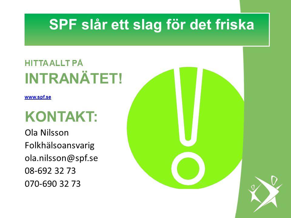 SPF slår ett slag för det FRISKA! SPF slår ett slag för det friska HITTA ALLT PÅ INTRANÄTET! www.spf.se KONTAKT: Ola Nilsson Folkhälsoansvarig ola.nil