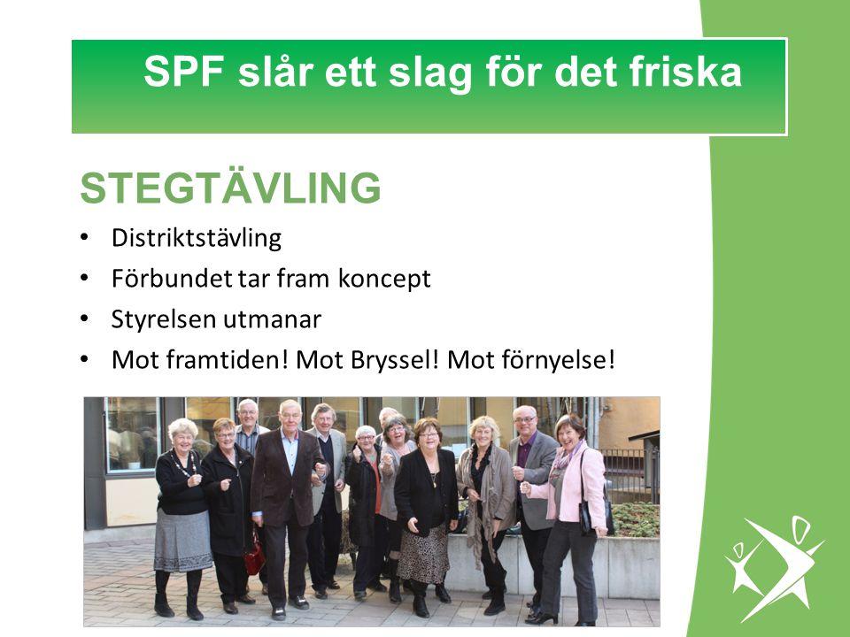 SPF slår ett slag för det FRISKA! SPF slår ett slag för det friska STEGTÄVLING Distriktstävling Förbundet tar fram koncept Styrelsen utmanar Mot framt