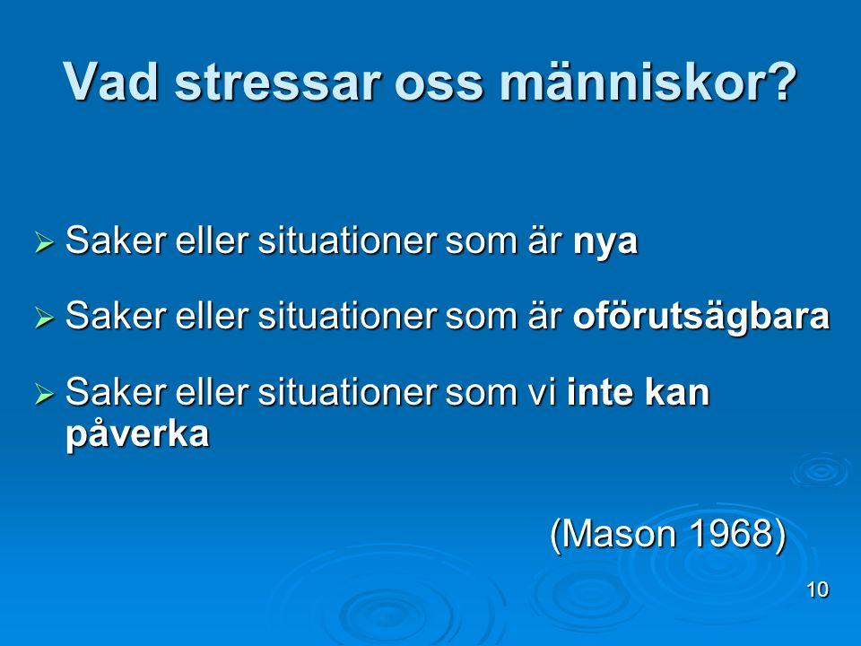 Vad stressar oss människor?  Saker eller situationer som är nya  Saker eller situationer som är oförutsägbara  Saker eller situationer som vi inte