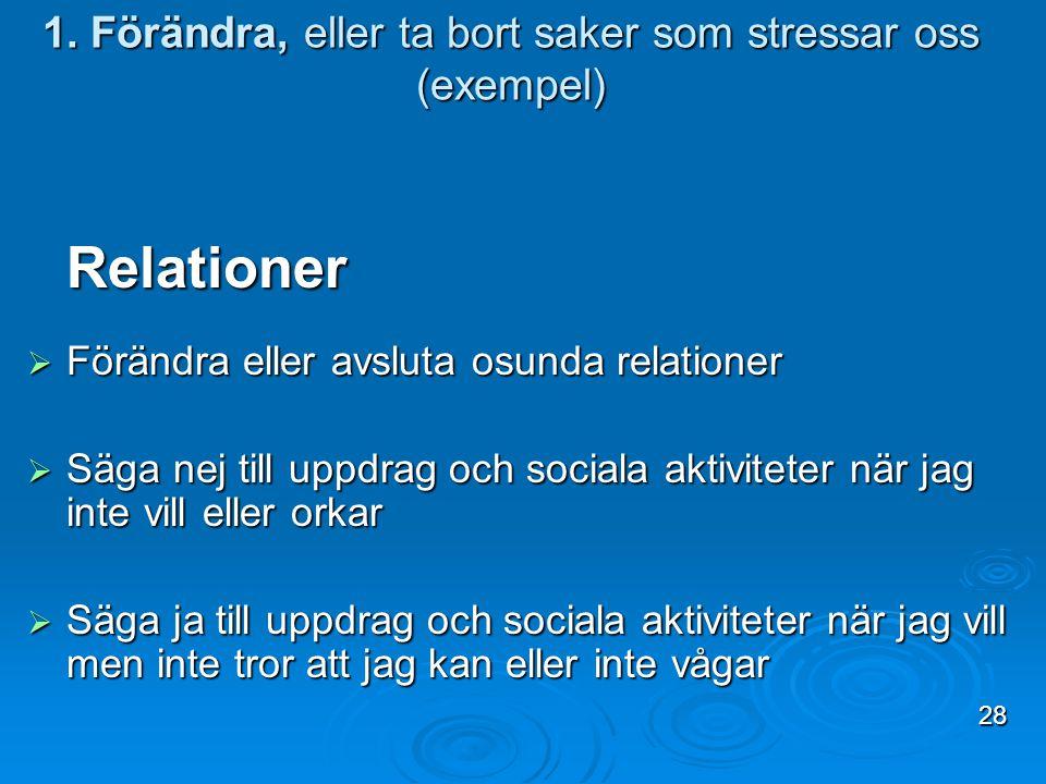 1. Förändra, eller ta bort saker som stressar oss (exempel) Relationer  Förändra eller avsluta osunda relationer  Säga nej till uppdrag och sociala