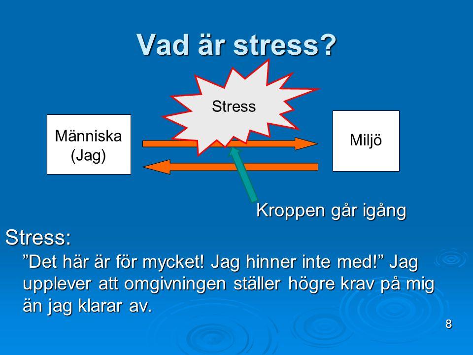 """Vad är stress? Stress: """"Det här är för mycket! Jag hinner inte med!"""" Jag upplever att omgivningen ställer högre krav på mig än jag klarar av. Stress M"""