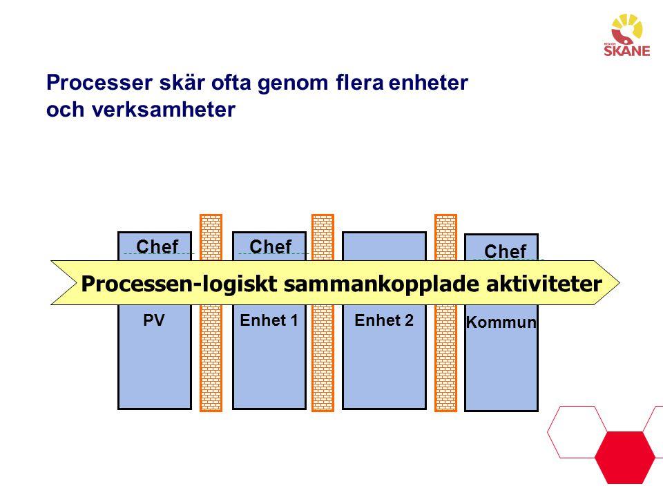 PVEnhet 1Enhet 2 Kommun Chef Processer skär ofta genom flera enheter och verksamheter Chef Processen-logiskt sammankopplade aktiviteter