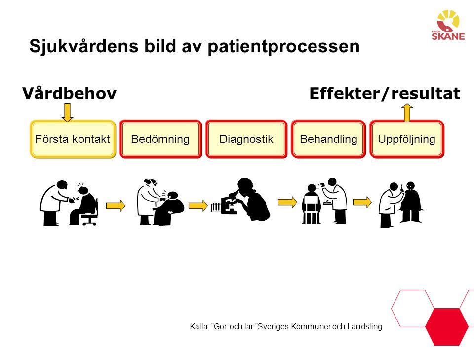 """Källa: """"Gör och lär """"Sveriges Kommuner och Landsting Sjukvårdens bild av patientprocessen Första kontaktBedömningBehandlingDiagnostikUppföljning Vårdb"""