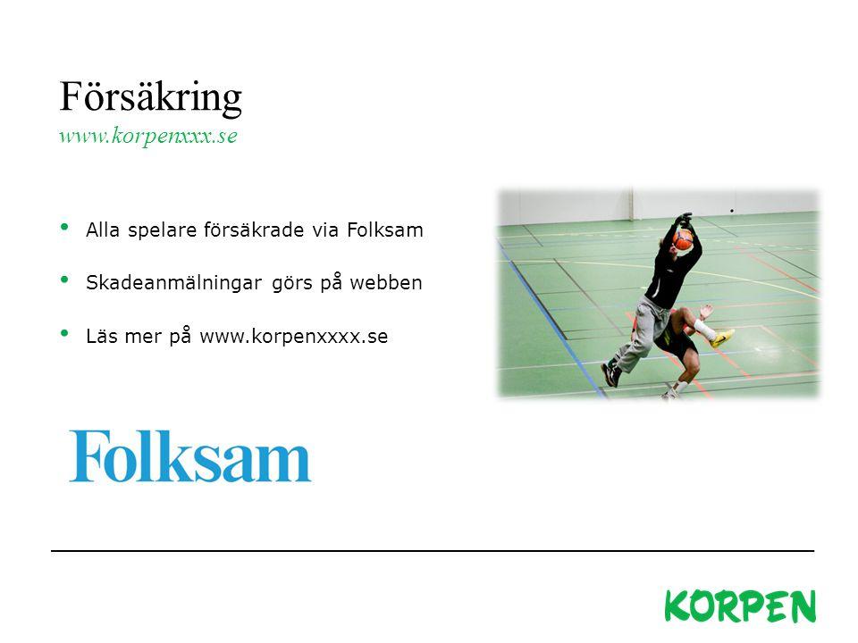 Försäkring www.korpenxxx.se Alla spelare försäkrade via Folksam Skadeanmälningar görs på webben Läs mer på www.korpenxxxx.se