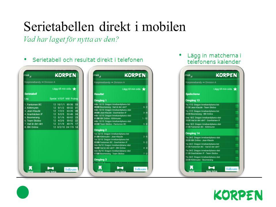 Serietabellen direkt i mobilen Vad har laget för nytta av den? Serietabell och resultat direkt i telefonen Lägg in matcherna i telefonens kalender