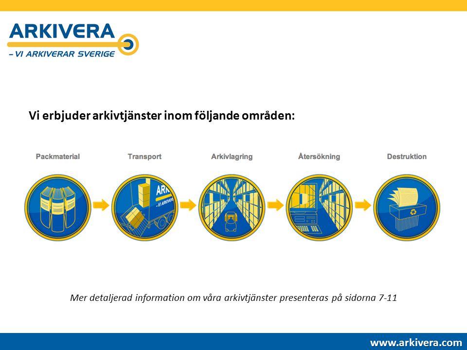Vi erbjuder arkivtjänster inom följande områden: www.arkivera.com Mer detaljerad information om våra arkivtjänster presenteras på sidorna 7-11