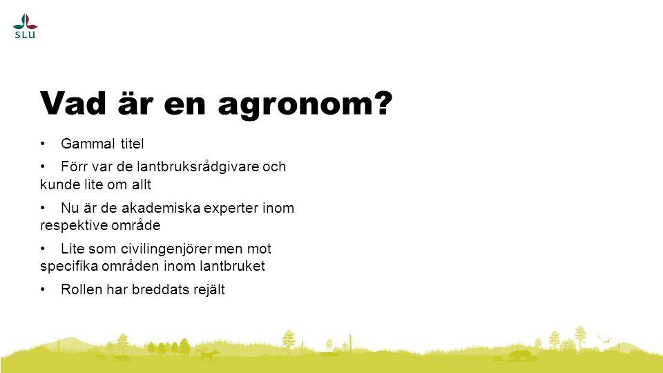 Gammal titel Förr var de lantbruksrådgivare och kunde lite om allt Nu är de akademiska experter inom respektive område Lite som civilingenjörer men mot specifika områden inom lantbruket Rollen har breddats rejält Vad är en agronom?