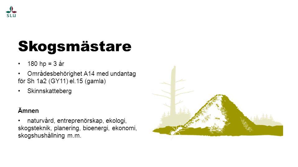 180 hp = 3 år Områdesbehörighet A14 med undantag för Sh 1a2 (GY11) el.15 (gamla) Skinnskatteberg Ämnen naturvård, entreprenörskap, ekologi, skogsteknik, planering, bioenergi, ekonomi, skogshushållning m.m.