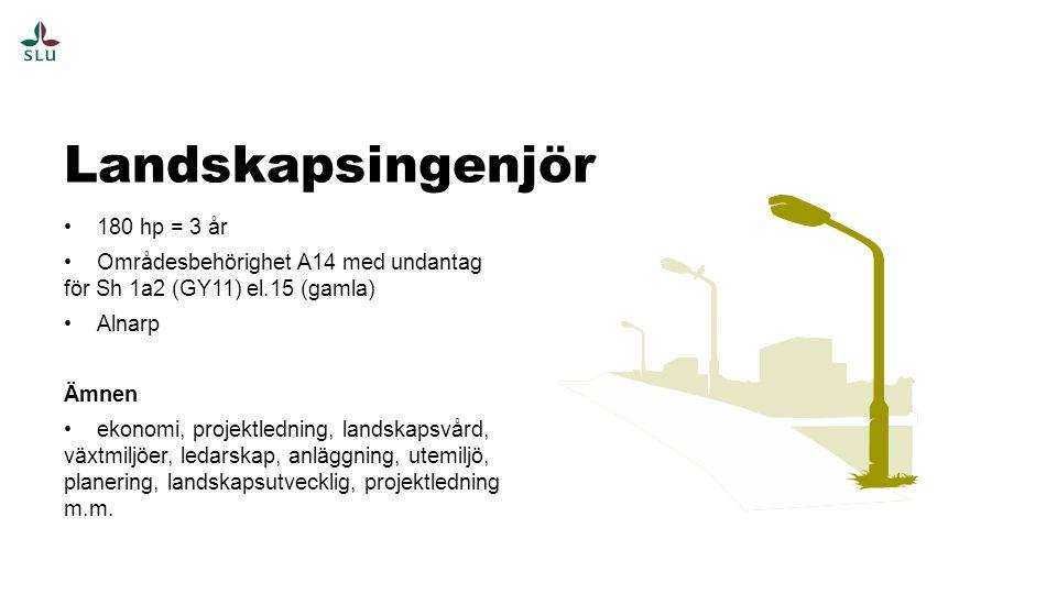 180 hp = 3 år Områdesbehörighet A14 med undantag för Sh 1a2 (GY11) el.15 (gamla) Alnarp Ämnen ekonomi, projektledning, landskapsvård, växtmiljöer, ledarskap, anläggning, utemiljö, planering, landskapsutvecklig, projektledning m.m.