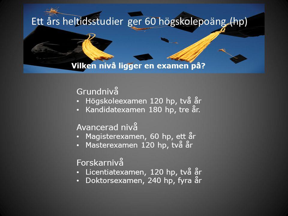 Ett års heltidsstudier ger 60 högskolepoäng (hp) Grundnivå Högskoleexamen 120 hp, två år Kandidatexamen 180 hp, tre år. Avancerad nivå Magisterexamen,